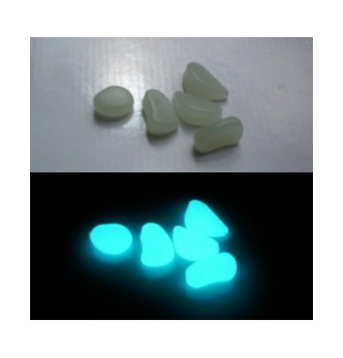 200g Petits Galets phosphorescents turquoise